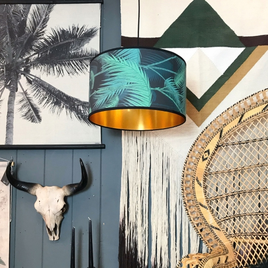 [Love Frankie] Palm Jungle Wallpaper Lampshade with gold lining, cropped image, £40-180